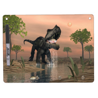 Prestosuchus dinosaur fishing - 3D render Dry Erase Board With Keychain Holder