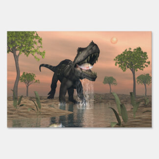 Prestosuchus dinosaur fishing - 3D render Sign