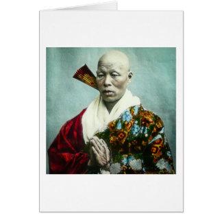 Prêtre vintage de Shinto de Japonais priant le Carte De Vœux