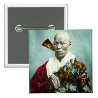 Prêtre vintage de Shinto de Japonais priant le Macaron Carré 5 Cm