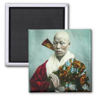 Prêtre vintage de Shinto de Japonais priant le Magnet Carré