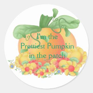 Prettiest Pumpkin Classic Round Sticker