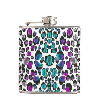 Prettiest Violet Teal Leopard Ever Flask