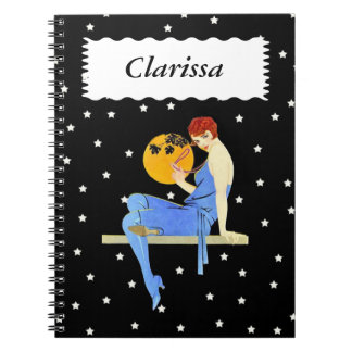 Pretty 1920s Flapper Red Hair Stars Moon Pearls Notebook