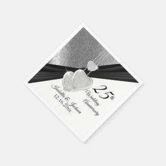 Pretty 25th Silver Wedding Anniversary Design Paper Napkins