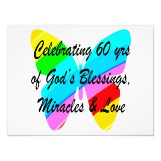 PRETTY 60TH BIRTHDAY RAINBOW BUTTERFLY DESIGN PHOTO