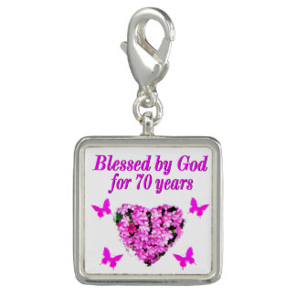 PRETTY 70TH PINK FLORAL BIRTHDAY DESIGN PHOTO CHARM
