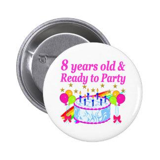 PRETTY 8TH BIRTHDAY PARTY CELEBRATION 2 INCH ROUND BUTTON