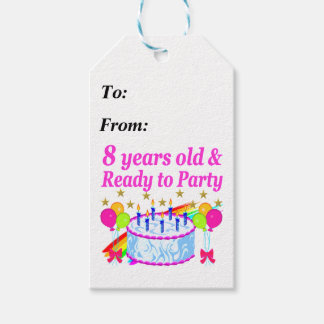 PRETTY 8TH BIRTHDAY PARTY CELEBRATION PACK OF GIFT TAGS