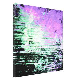 Pretty Abstract Aqua and Lavender Grunge Canvas Print