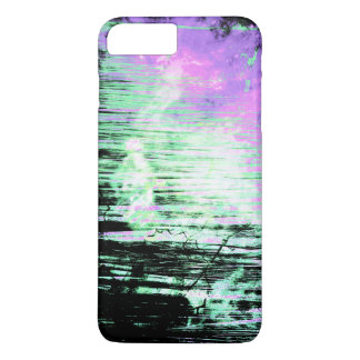 Pretty Abstract Aqua and Lavender Grunge iPhone 7 Plus Case