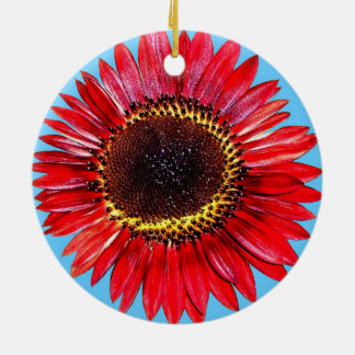 Pretty Abstract Autumn Beauty Sunflower on Blue Round Ceramic Ornament