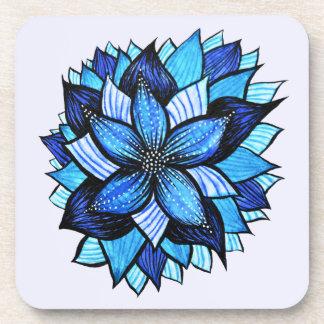 Pretty Abstract Blue Mandala Like Flower Drawing Coaster
