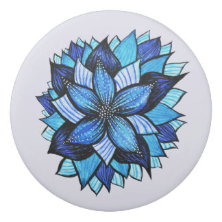 Pretty Abstract Blue Mandala Like Flower Drawing Eraser