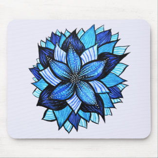 Pretty Abstract Blue Mandala Like Flower Drawing Mouse Pad