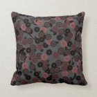 Pretty Abstract Floral Pattern in Dark Dusky Pink Throw Pillow
