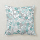 Pretty Abstract Floral Pattern in Teal and Grey Throw Pillow