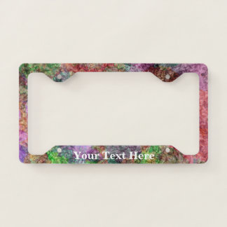 Pretty Abstract Mix of Swirled Colors Squiggles License Plate Frame