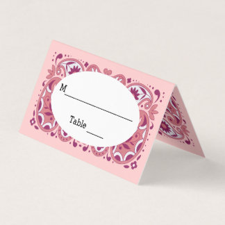 Pretty Abstract Paisley Pattern Shades of Pink Place Card