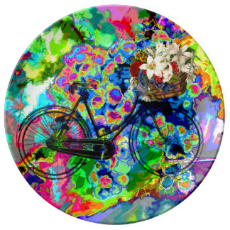 Pretty Abstract water color Grapes bike  plate Porcelain Plates