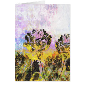 Pretty Abstract Yellow and Lavender Roses Card