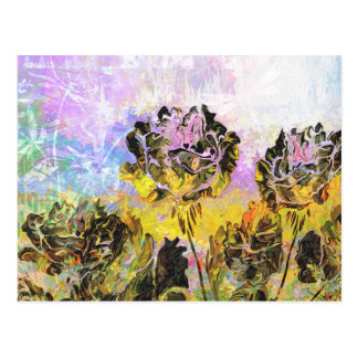 Pretty Abstract Yellow and Lavender Roses Postcard