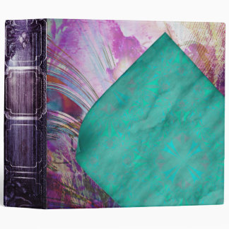 Pretty Aged Curled Pages Turquoise Parchment Vinyl Binder