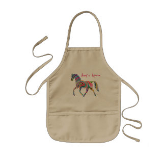 Pretty and Colorful Rainbow Horse Kids Apron