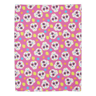 Pretty and Cute Sugar Skulls on Pink Duvet Cover