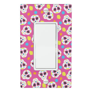 Pretty and Cute Sugar Skulls on Pink Light Switch Cover