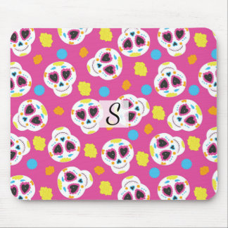 Pretty and Cute Sugar Skulls on Pink Monogrammed Mouse Pad