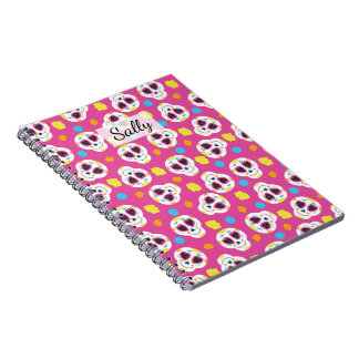 Pretty and Cute Sugar Skulls on Pink Personalized Notebooks