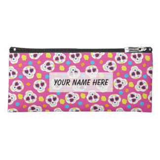 Pretty and Cute Sugar Skulls on Pink Personalized Pencil Case