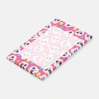 Pretty and Cute Sugar Skulls on Pink Post-it Notes