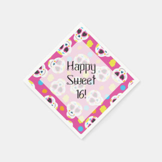 Pretty and Cute Sugar Skulls on Pink Sweet 16 Disposable Napkins