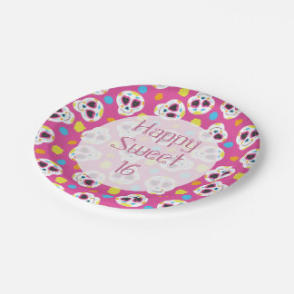 Pretty and Cute Sugar Skulls on Pink Sweet 16 Paper Plate