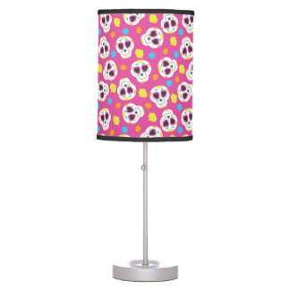 Pretty and Cute Sugar Skulls on Pink Table Lamp