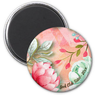Pretty and Elegant Watercolor Flower Book Club Magnet