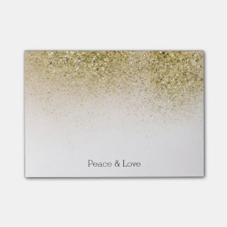 Pretty and Glittery Gold Peace Love Post-it Notes