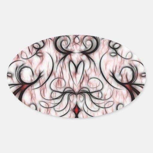 Pretty and Unique Red&Black Swirls Fractal Design Oval Sticker