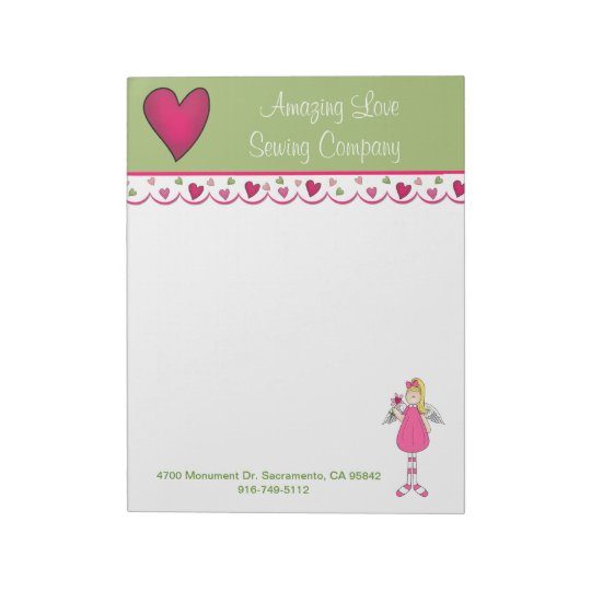 Pretty Angel and Heart Business Large Note Pad 2