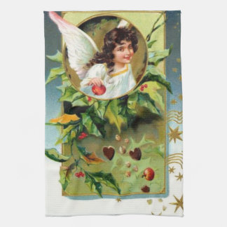 Pretty Angel With Holly Kitchen Towel
