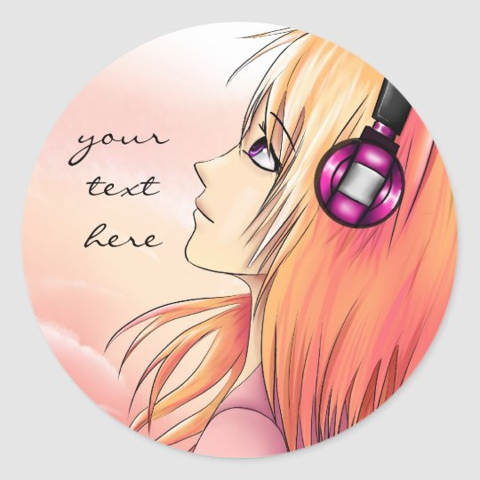 Anime Girl Listening To Music: Pretty Anime Girl Listening To Music Stickers