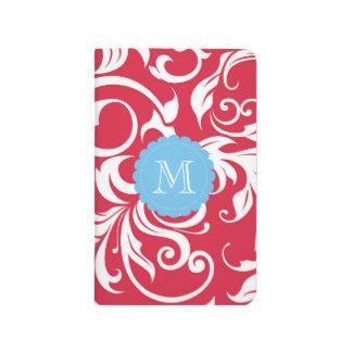 Pretty Apple Red Blue Floral Swirl Monogram Journal