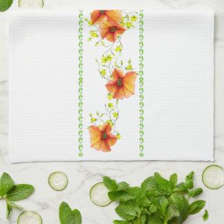 Pretty Apricot Flowers Kitchen Towel