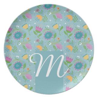 Pretty April Showers Pastel Retro Floral Monogram Party Plates