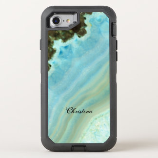 Pretty Aqua Blue Agate Geode Crystal Pattern OtterBox Defender iPhone 8/7 Case
