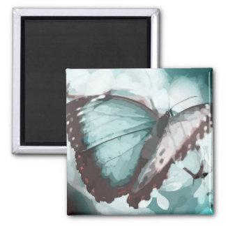 Pretty Aqua Butterfly Square Magnet