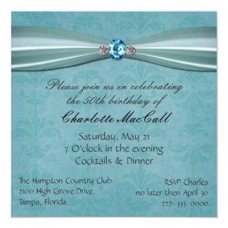 Pretty Aqua Damask Birthday invitation