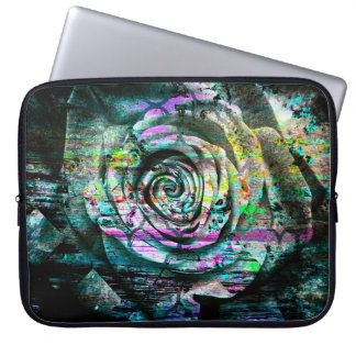 Pretty Aqua Painted Rose Floral Grunge Laptop Sleeve